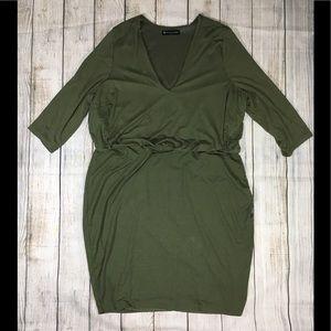 Fashion To Figure Dress V Neck Lined Olive 3 3X